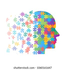 Colorful Puzzle Piece Silhouette Head - Vector Illustration. Jigsaw Puzzle Blank Template. Vector Puzzle Object. 4 Step Process Diagram. Brain, Knowledge, Study and Self-Education. Puzzle Head Pieces.