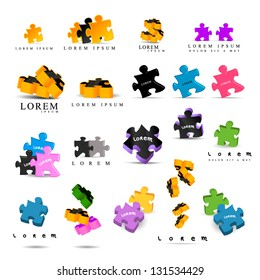 Colorful Puzzle Pieces Isolated On White Background - Vector Illustration, Graphic Design - Editable For Your Design Puzzle Logo