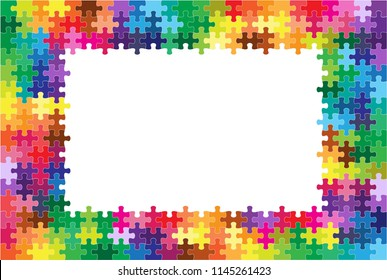 Colorful puzzles and blank white center background, Vector Illustration