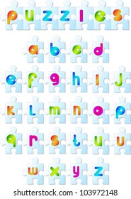 Colorful puzzles font. Vector illustration of alphabet