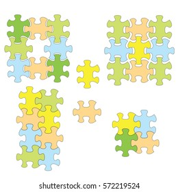 colorful puzzles as infographic - vector set of elements