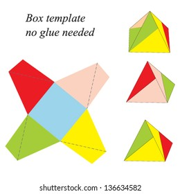 Colorful Pyramid Box Template, no glue needed. Vector illustration.