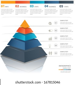 Colorful  pyramid chart. Useful for info graphics and presentations.