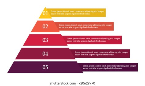 Colorful pyramid infographic in five steps