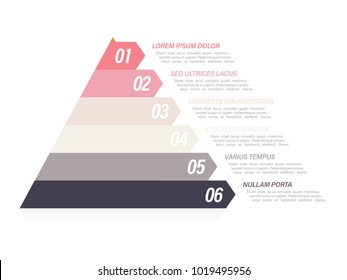 Colorful pyramid infographic in six steps