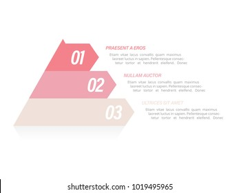 Colorful pyramid infographic in three steps