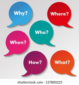 Colorful questions speech paper bubbles with text why, where, who, when, how, what.