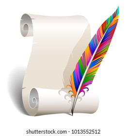 Colorful quill for writing with scroll of paper isolated on white
