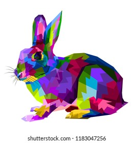 colorful Rabbit on  pop art style.Rabbit vector illustration in polygonal style. rabbit isolated on white background.