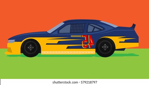 colorful racing car is ready to race on race track