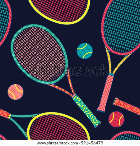 Colorful Racket and Tennis Ball Seamless Pattern. Background Wallpaper