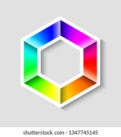Colorful radial gradient hexagonal symbol made of rainbow spectral colors on grey background
