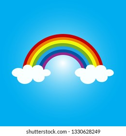 Colorful rainbow and cloud cartoon vector illustration
