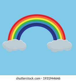 Colorful Rainbow With Clouds, Vector illustration