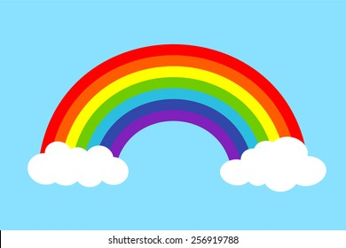 Colorful rainbow with clouds, Vector illustration.