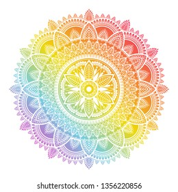 Colorful rainbow ethnic mandala on white background. Circular decorative pattern.