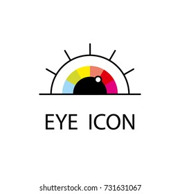 Colorful  rainbow eye. Pupil and eyelashes. Vector Eye Logo