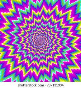 Colorful rainbow flower. Motion illusion.
