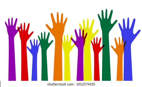 colorful rainbow up hands vector. Never give up for LGBT love support.