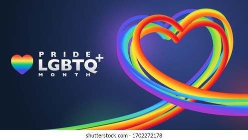 Colorful rainbow heart shape banner for LGBTQ pride month. Abstract 3D striped objects on dark purple background with copy space. Vector illustration template.