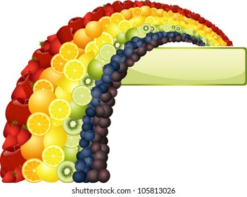 A colorful rainbow made of different types of fruit, and a banner with copyspace.