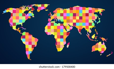 Colorful rainbow map with mosaic geometric background for your web design