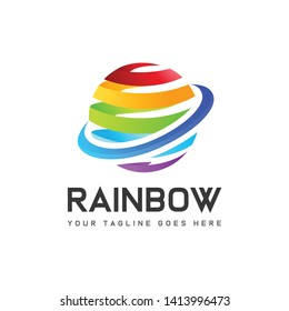 Colorful rainbow modern globe logo