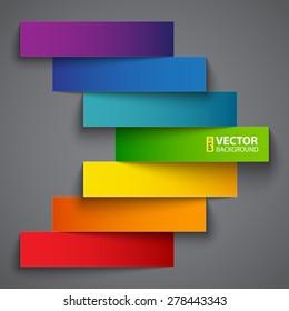 Colorful rainbow  paper stripe banners arrow on dark grey background. RGB EPS 10 vector illustration