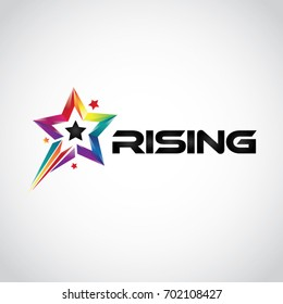 Colorful Rainbow Rising Star Logo Symbol