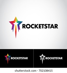 Colorful Rainbow Rocket Star Logo Symbol