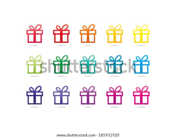 Colorful rainbow spectrum gift box sign icon. Present symbol. Vector graphic illustration template. Isolated on white background.