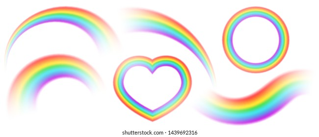 Colorful rainbows isolated vector set. Perspective diagonal view. Bright realistic arch rainbows, heart and round halo rainbow. Fantasy symbol of good luck.