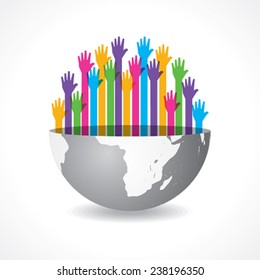 Colorful raised hand on the half earth symbol stock vector