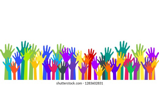 Colorful raised hands group art therapy vector illustration. Hands in paint of rainbow colors raised up art, party, joy and fun, friendship or group therapy symbols. Many children arms together.