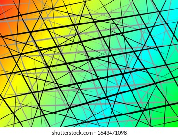 Colorful Random Chaotic Lines, Scattered Lines, Random Chaotic Lines Asymmetrical Texture Vector Abstract Art simple striped element Illustration