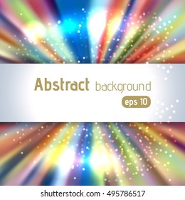 Colorful rays background with place for text. Abstract motion blur background with power explosion. Vector illustration.  Blue, white, orange colors