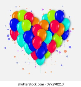 Colorful Realistic 3d Heart Bunch of  Balloons Flying for Party and Celebrations with confetti. Trendy Design element of Happy Birthday or Valentine's day. Vector Illustration.