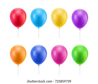 Colorful realistic balloons. Colored balloons of realistic set on a white background for designers and illustrators. Gasbags template as a vector illustration