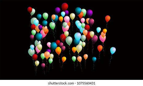 Colorful Realistic Balloons Falling Down or Flying, Vector Illustration. Party, Sale, Ads Flyer Background. Birthday Celebration, Festive Decoration. Red, Green, Blue, Purple, Orange Flying Balloons.