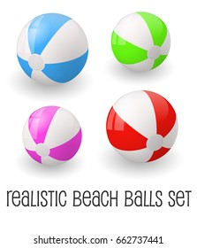 Colorful realistic beach ball vector illustration. White, red, pink, green  isolated on white background.