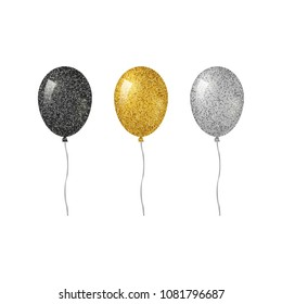 Colorful realistic helium balloons with glitter texture isolated on white background.