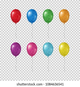 Colorful realistic helium balloons with glitter texture isolated on transparent background.