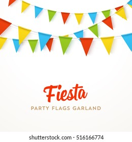 Colorful realistic vector flag garland with shadow. 4 different colors, easy to edit. Material design paper style. Party invitation design template.