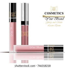 Colorful Realistick lipgloss package in gold. Vector detailed cosmetics product set collections
