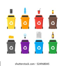 Colorful Recycle Bins Set with Examples for the Separation and Utilize of Garbage. Saving Of The Environment Vector illustration