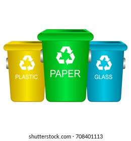 Colorful recycle trash bins isolated white, vector. Big containers for recycling waste sorting plastic, glass, paper.