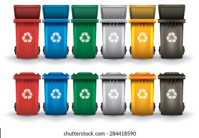 Colorful recycle trash bins open and closed isolated white 25c463c26ae8