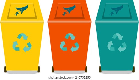 Colorful recycle trash or rubbish bins, flat icon,silhouette
