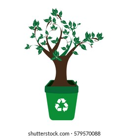 colorful recycling container with leafy tree plant