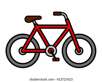 Colorful red cartoon bicycle outline drawing viewed from the side isolated over white, vector illustration